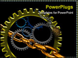 PowerPoint Template - Several gears placed together closely with shadoows and highlights