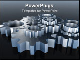 PowerPoint Template - Various gears dark blue color with reflection