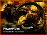 PowerPoint Template - Grunge gears - grainy vintage background with crackles