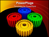 Four gears (colorful high resolution 3D rendering image)