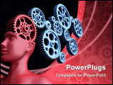 PowerPoint Template - Concept of leadership and control. The main gear is the brain of man.