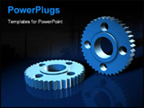 PowerPoint Template - Blue 3d gears on a reflective blue surface