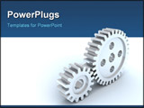 PowerPoint Template - 3d image. Small and big gears from silver.