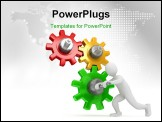 PowerPoint Template - Gears over white background . 3d rendered image