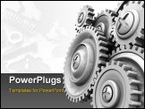 PowerPoint Template - 3d illustration of background with gear wheels at left side