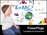 PowerPoint Template -  young boy child is writing out math and science equations and formulas. He is sitting on the floor