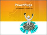 PowerPoint Template - A figure stands in a pile of US Dollars surrounded by the words Get Rich