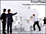 PowerPoint Template - A group of business people put a puzzle piece in its spot.