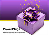 PowerPoint Template - violet gift box isolated on white background