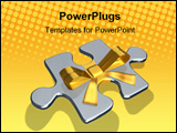 PowerPoint Template - metaphor with rendered metallic puzzles