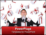 PowerPoint Template - gifts falling down on a business man over a white background