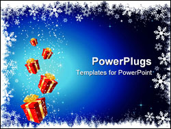 PowerPoint Template - Christmas gifts on a background of snowflakes and stars
