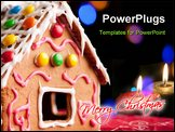 Close-up of gingerbread house decorated with colorful candies over Christmas tree lights background