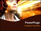 PowerPoint Template - girl listening to music with earphones on a light background