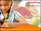 PowerPoint Template - Portrait of lovely girl drawing in copybook at lesson