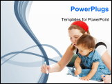 PowerPoint Template - Mother and baby girl drawing on the floor