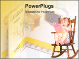 PowerPoint Template - little girl reading in rocking chair