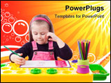 PowerPoint Template - Blond little girl drawing at the table (over white background)
