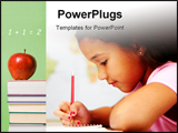 PowerPoint Template - Child at school writing with a pencil