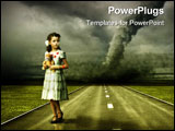 PowerPoint Template - ittle girl large tornado over the road ( photo and hand-drawing elements combined. The grain and te