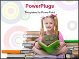 PowerPoint Template - Image of happy pretty girl sitting and holding book