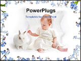 PowerPoint Template - ute little girl dressed like fairy with fluffy wings plays with white rabbit with beautiful flower