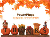PowerPoint Template - A thanksgiving decoration sign over a white background