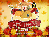 PowerPoint Template - Wooden thanksgiving scarecrow decoration with a sign give thanks isolated on white
