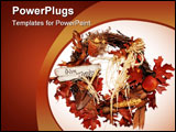 PowerPoint Template - a fall season and thanksgiving themed wreath