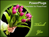 PowerPoint Template - Hand holding pink flowers ( tulips ) on the white background