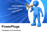 PowerPoint Template - 3d person holding a megaphone giving information .