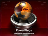 PowerPoint Template - 3d globe in a metalic base