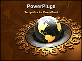 PowerPoint Template - a global surrounded by a ring of bronze yen euro and dollar symbols