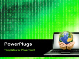 PowerPoint Template - Hands with Earth coming from laptop screen