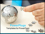 PowerPoint Template - global business concept with a puzzle globe and pieces