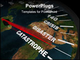 PowerPoint Template - A speedometer on the Earth shows humanity speeding toward global catastrophe