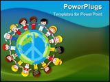 PowerPoint Template - A globe with the peace sign on it and children dressed in their countries flag surround it