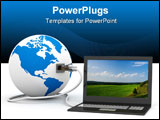 PowerPoint Template - Global communication in the world. 3D image.