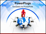 PowerPoint Template - Global communication in the world. 3D image