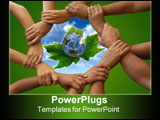 PowerPoint Template - A blue planet Earth rests on a green maple leaf. 3D render.