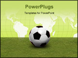 PowerPoint Template - Football on green grass and map of the world
