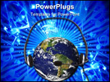 PowerPoint Template - orld with a headset. Can be used as a music call center customer relationships radio or global comm