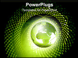 PowerPoint Template - d illustration of a glowing earth positioned at the center of an illuminated lime green spiral dot