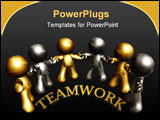 PowerPoint Template - Gold and silver figure working together as team