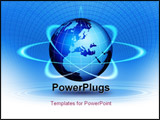 PowerPoint Template - World globe technological action. Blue world globe magic concept.