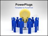 PowerPoint Template - big yellow classic bulb and blue models team