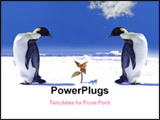 PowerPoint Template - global warming in antarctica two penguins amazed by a plant