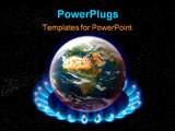 PowerPoint Template - planet earth over heated on flames - global warming concept