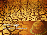 PowerPoint Template - Dried cracked earth with dead trees representing the effects of global warming and climate change.