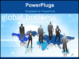 PowerPoint Template - Illustration of business people with world map